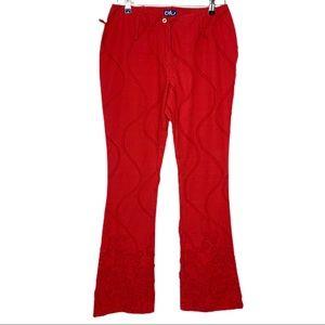Byblos Blu Red Ribbon Floral Design Flair Pants